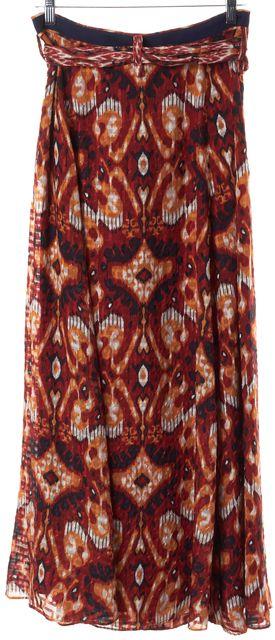 TORY BURCH Red Orange Blue Yellow Geometric Print Belted Silk A-Line Skirt