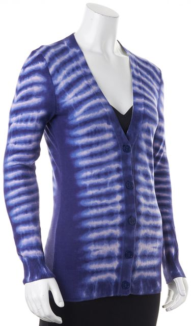 TORY BURCH Blue Pink Tie Dye Button Front V-Neck Cardigan