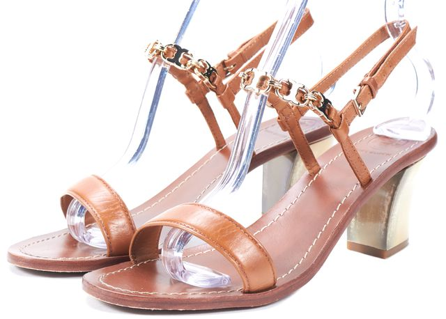 TORY BURCH Brown Leather Chain Embellished Sandal Heels
