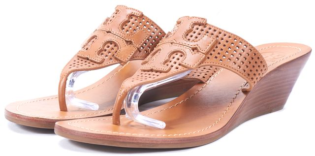 TORY BURCH Brown Perforated Leather Slip-On Wedged Sandals
