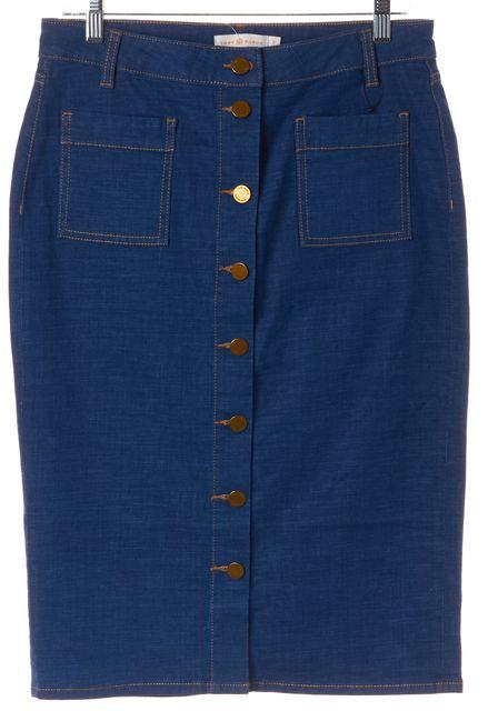 TORY BURCH Blue Denim Double Pocket Buttondown Skirt