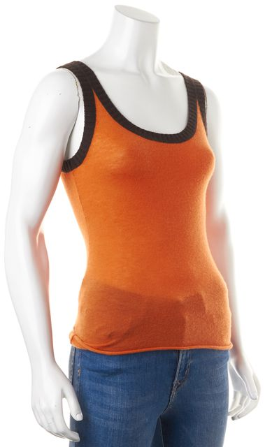 TORY BURCH Orange Brown Cashmere Knit Sleeveless Tank Camisole Top