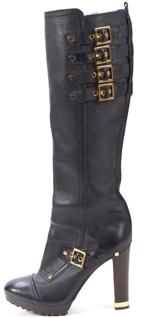TORY BURCH Black Leather Gold Buckle Stacked Heel Knee-High Boots
