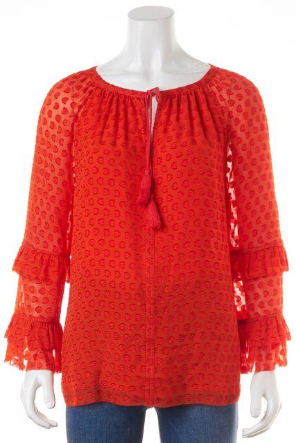 TORY BURCH Blood Orange Silk Ruffled Blouse