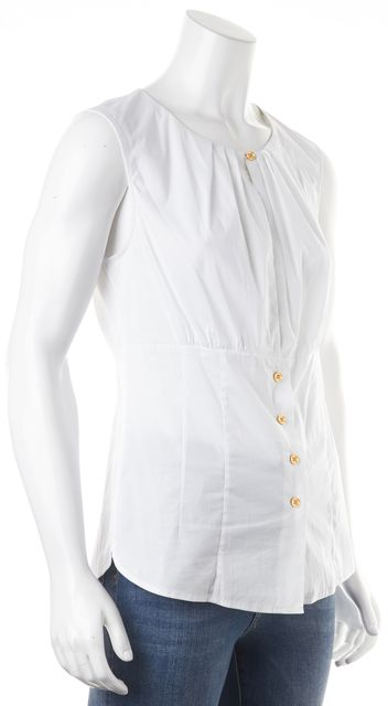 TORY BURCH White Button front Sleeveless Blouse Top
