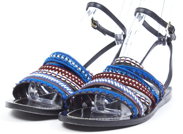 TORY BURCH Blue Red Black Embroidered Leather Flat Sandals