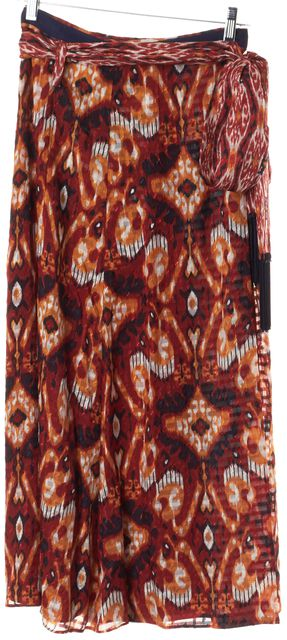 TORY BURCH Red Yellow Blue Geometric Print Silk Full Length Wrap Skirt