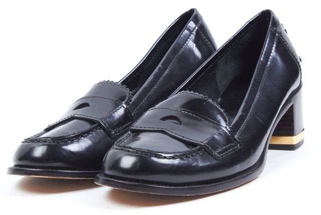 TORY BURCH Black Leather Stacked Heel Penny Loafers