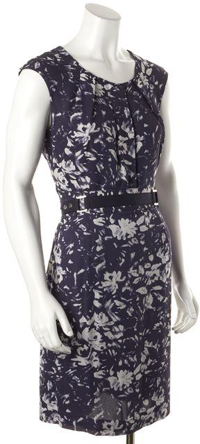 TORY BURCH Blue Silk Floral Print Belt Sheath Dress