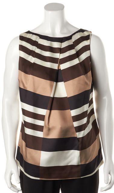 TORY BURCH Brown White Striped 100% Silk Sleeveless Back Zipped Blouse
