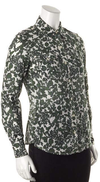 TORY BURCH Green White Floral Print Button Down Shirt Blouse