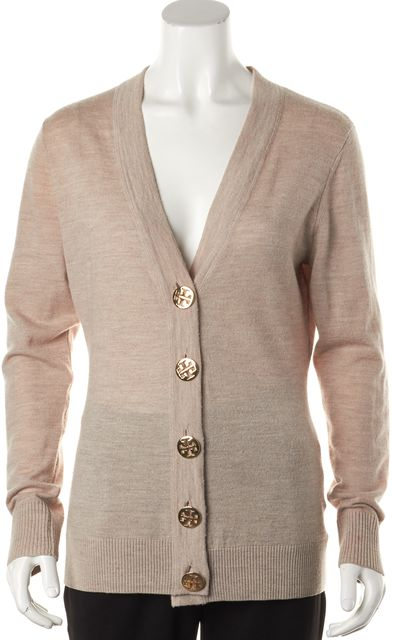 TORY BURCH Beige Wool Button Front V-Neck Cardigan Sweater
