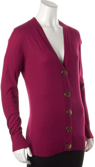 TORY BURCH Pink Button Front V-Neck Cardigan Sweater