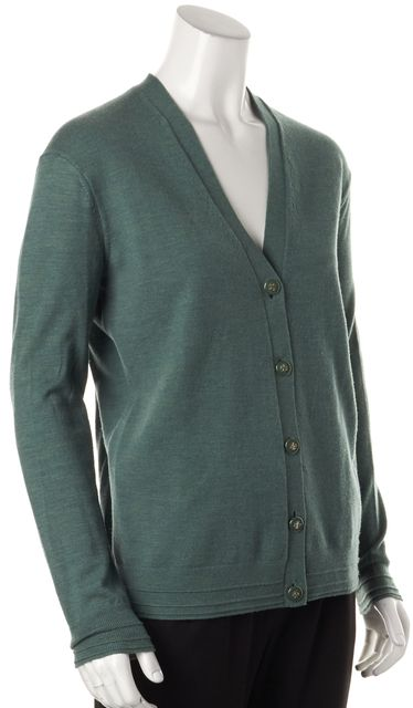 TORY BURCH Green Wool Button Front V-Neck Cardigan Sweater