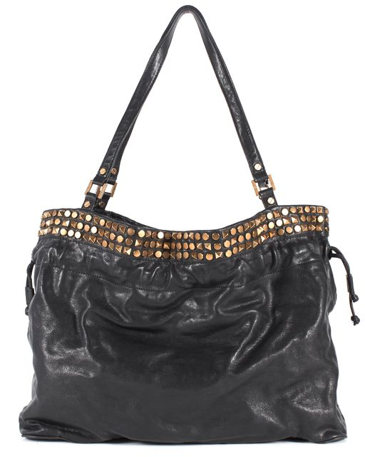 TORY BURCH Black Leather Stud Embellished Shoulder Bag