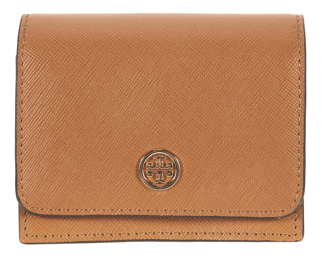 TORY BURCH Tan Brown Saffiano Leather Small Wallet