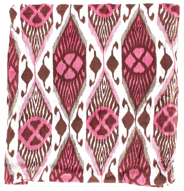 TORY BURCH Pink Brown White Geometric Light Scarf