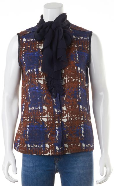 TORY BURCH Blue Color-Block Wool Blend Abstract Blouse