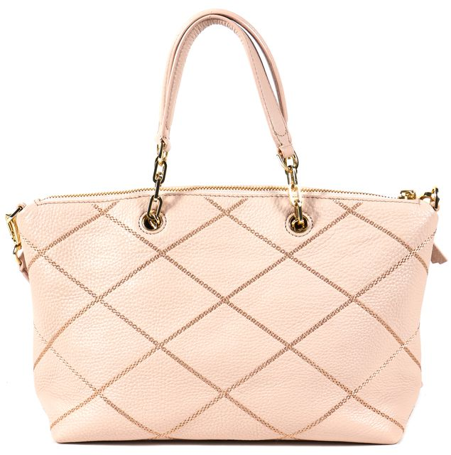TORY BURCH Pink Quilted Genuine Leather Convertible Satchel Bag