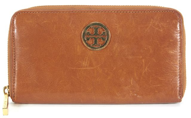 TORY BURCH Brown Leather Gold Hardware Zip Around Wallet