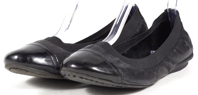 TORY BURCH Black Leather Cap Toe Ballet Flats