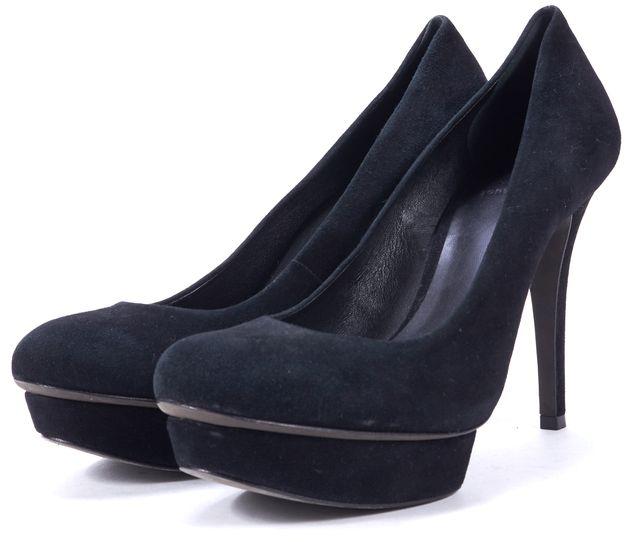TORY BURCH Black Suede Genuine Leather Round-Toe Pump Heels