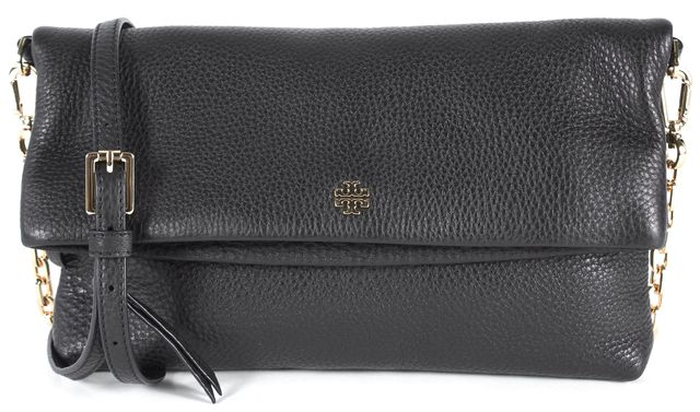TORY BURCH Black Pebbled Leather Gold Chain Crossbody Bag