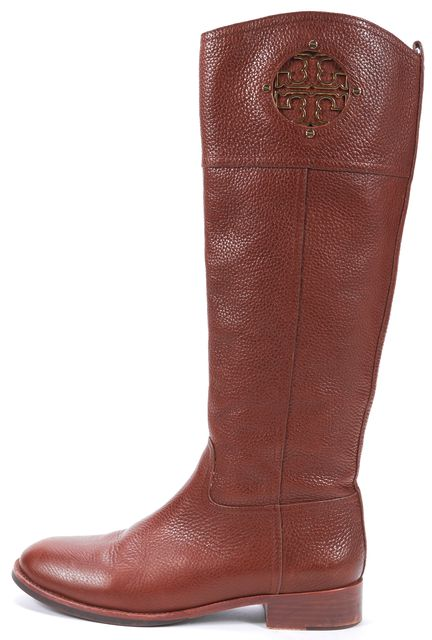 TORY BURCH Brown Genuine Leather Gold Logo Western Mid-Calf Tall Boots