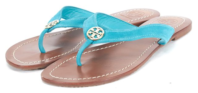 TORY BURCH Turquoise Blue Suede Sandals Flip Flops