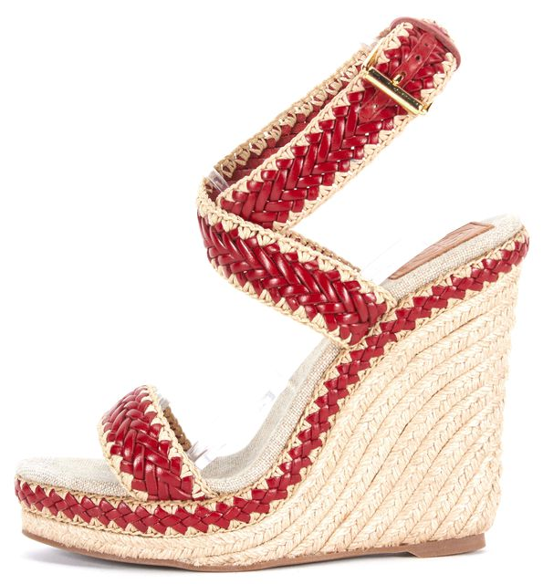TORY BURCH Red Beige Braided Leather Espadrille Sandal Wedges
