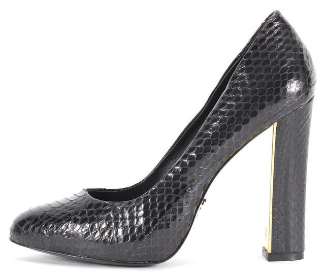 TORY BURCH Black Snake Embossed Leather Pump Heels