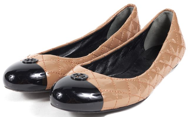 TORY BURCH Beige Patent Leather Geometric Flats