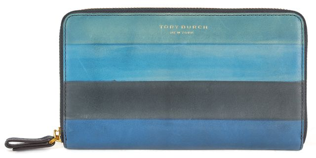 TORY BURCH Blue Green Stripe Leather Block-T Degrade Continental Wallet