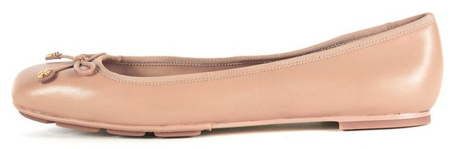 TORY BURCH Beige Leather Bow Embellished Ballet Flats