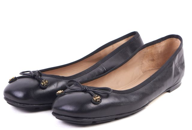 TORY BURCH Black Leather Laila Driver Bow Ballet Flats
