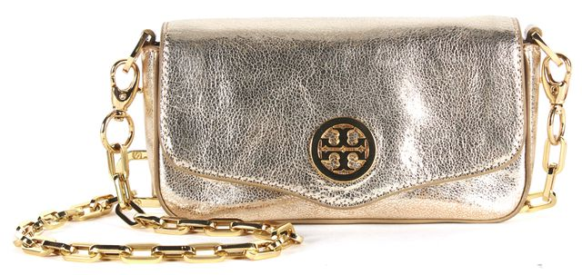 TORY BURCH Gold Cracked Leather Chain Strap Convertible Crossbody Bag