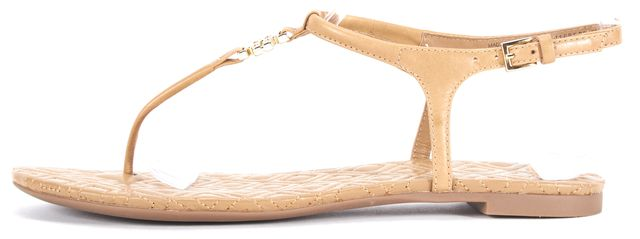 TORY BURCH TORY BURCHT an Brown Leather Flat T-Strap Sandals