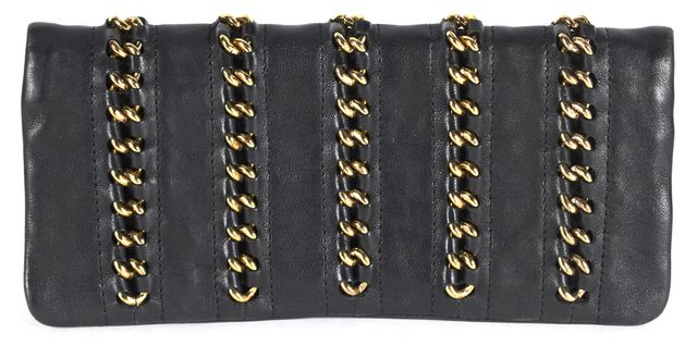 TORY BURCH Black Gold Chain Embellished Leather Wallet Clutch