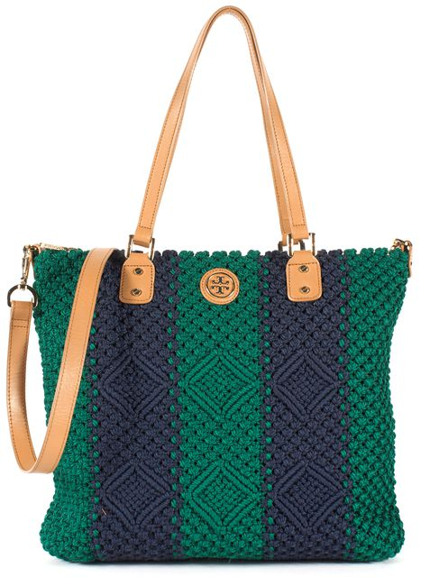 TORY BURCH Blue Green Striped Woven Leather Trim Satchel