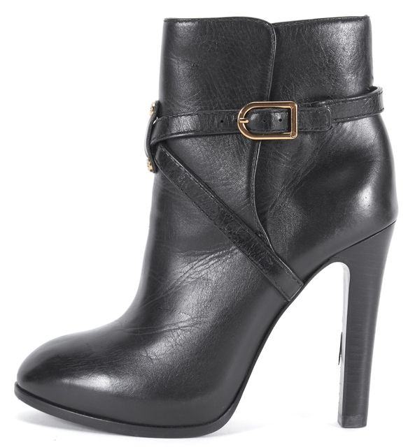 TORY BURCH Black Leather Gold Buckle Ankle Boots