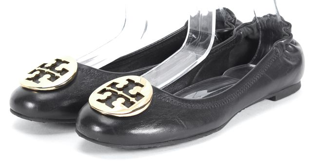 TORY BURCH Black Leather Gold Logo Medallion Reva Ballet Flats Flats