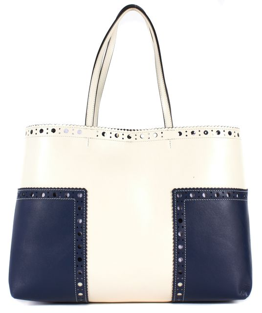 TORY BURCH White Blue Leather Block-T Brogue Large Tote Bag
