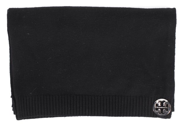 TORY BURCH Black Merino Wool Knit Silver T Logo Embellished Long Winter Scarf