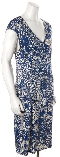 TORY BURCH Blue White Cap Sleeve Knee-Length Abstract Pencil Sheath Dress