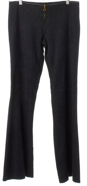 TORY BURCH Navy Blue Suede Mid-Rise Flared Casual Pants