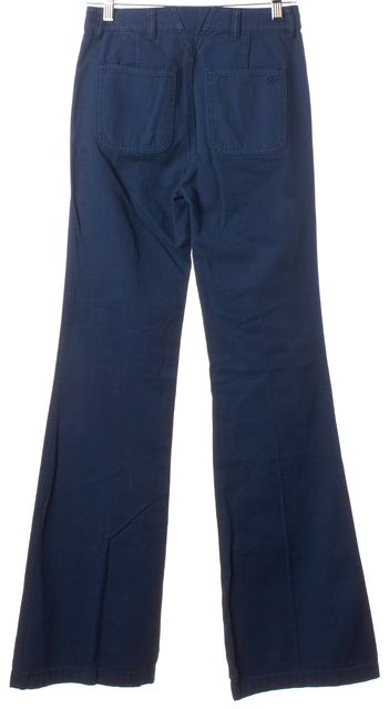 TORY BURCH Harbor Blue Cotton Flared Casual Pants