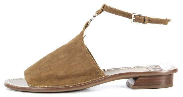TORY BURCH Olive Brown Suede Ankle Strap Open-Back Sandals