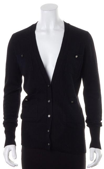 TORY BURCH Black Cashmere Knit Long Sleeve V-Neck Cardigan Sweater