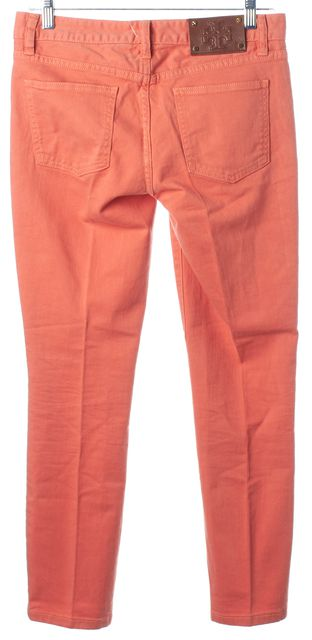 TORY BURCH Yam Orange Cotton Denim Cropped Skinny Jeans