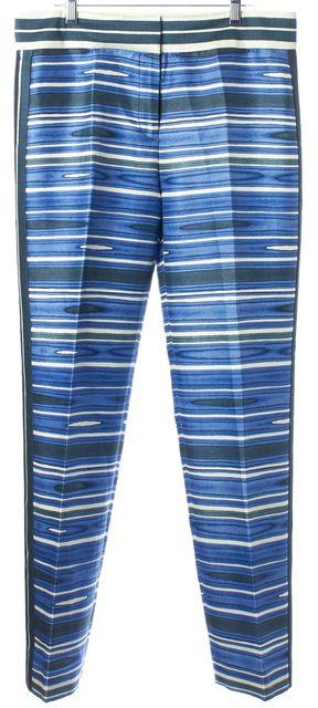 TORY BURCH Blue Green Ivory Silk Striped Printed High Rise Dress Pants
